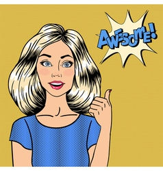 Woman Gesturing Great Pin Up Girl Awesome Pop Art vector image