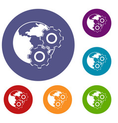 World planet and gears icons set vector