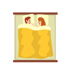 young couple sleeping on the bed young man and vector image