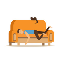 young man sleeping on orange sofa relaxing person vector image