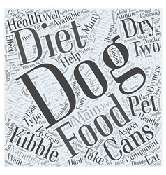 Your Dogs Diet Canned or Dry Word Cloud Concept vector