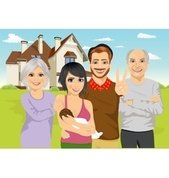 A family in front of classic cottage vector image vector image