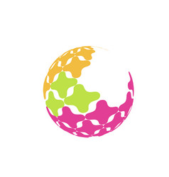 abstract sphere logo with color texture sign for vector image