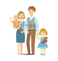father mother baby boy and little daughter vector image vector image