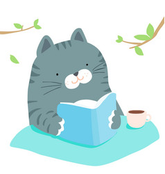 fluffy cat reading book in garden vector image