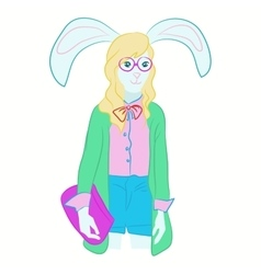 hipster hare in cool fashion clothes vector image vector image