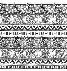 Seamless ornament from flower doodles and vector image vector image