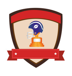 Shield emblem with side view american football vector