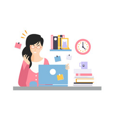 stressed busy young businesswoman character vector image vector image