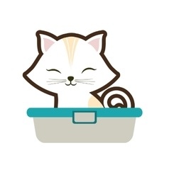 white small cat sitting stripes closed eyes vector image