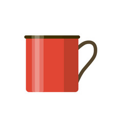 camping red enamel mug isolated on white vector image