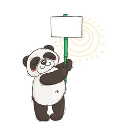 cute panda with a poster on a bamboo stick vector image vector image