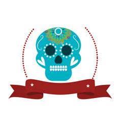 decorative ornamental sugar skull with ribbon vector image vector image