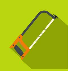 hacksaw with orange handle icon flat style vector image