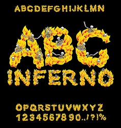 Inferno ABC Hell font Fire letters Sinners in vector image