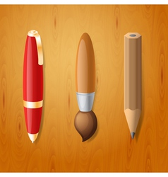 Pen pencil and brush icons vector