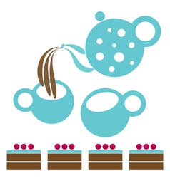 Tea Party with chocolate cakes vector image vector image