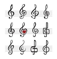 treble clefs vector image