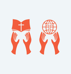 hands with the bible and the globe vector image vector image