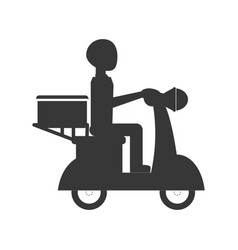 motorcycle courier vehicle vector image vector image