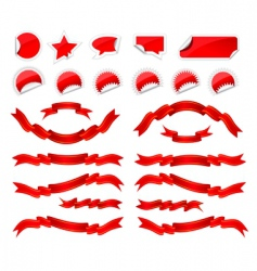 stickers and ribbons set vector image vector image