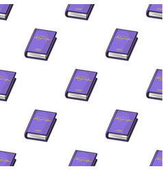 Violet book icon in cartoon style isolated on vector