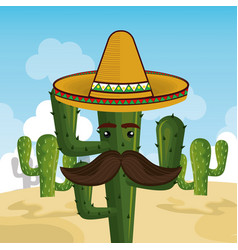 cactus character with mexican hat vector image