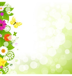 Flower With Grass And Flowers vector image vector image