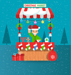 Happy young man and christmas market stall vector