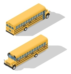 School bus detailed isonetric icons set frond and vector image vector image