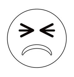 Unhappy face emoticon funny thin line vector