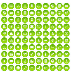 100 media icons set green circle vector