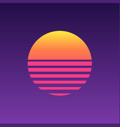 80s sunset retro neon background 90s poster vector image