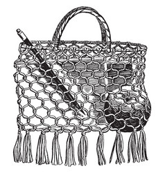 A school-bag make of string vintage engraving vector