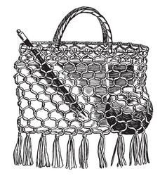 a school-bag make of string vintage engraving vector image