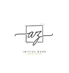 A z az beauty initial logo handwriting logo vector