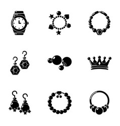 Adornment icons set simple style vector
