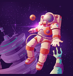 astronaut contact with alien in space vector image
