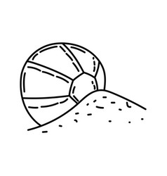 ball beach icon doodle hand drawn or outline icon vector image