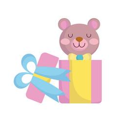Bashower cute teddy bear in gift box announce vector