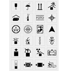 Black marking cargo icons set vector