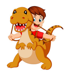 Boy with the red cloth using the tyrannosaurus vector