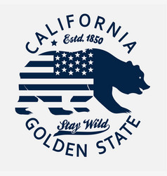 california typography print grizzly bear t-shirt vector image
