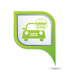 car with shop basket icon on green pointer vector image