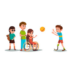 cartoon disabled teen kids playing set vector image