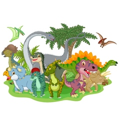 Cartoon group of dinosaur vector
