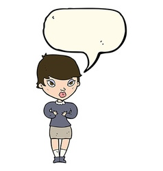 Cartoon woman gesturing at self with speech bubble vector