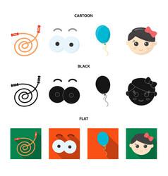 Children toy cartoonblackflat icons in set vector