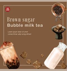 Chocolate milk tea bubble ad content trendy vector