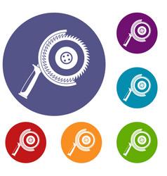 Circle saw icons set vector